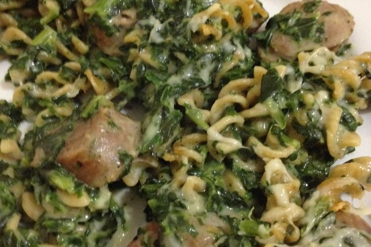 Creamy Sausage and Spinach with Whole Wheat Rotini