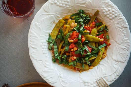 Runner Beans with Tomatoes and White Beans