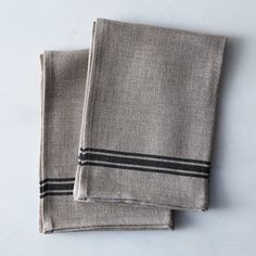 Oatmeal Linen Striped Tea Towels (Set of 4)
