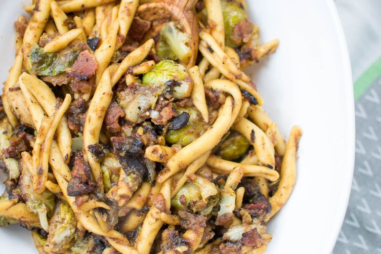 Charred Brussels Sprouts Pasta with Bacon and Dates
