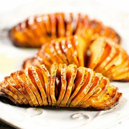 Cinnamon Almond Hasselback Sweet Potatoes