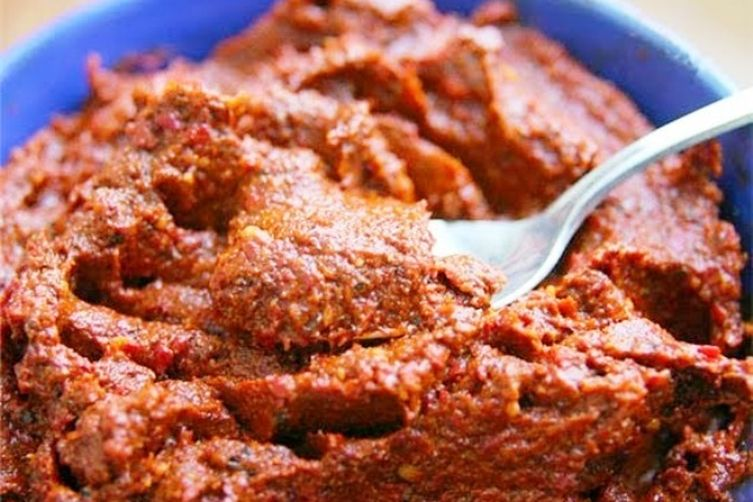 Adzhika, Hot Pepper Relish with Walnuts, Sage and Many Other Spices