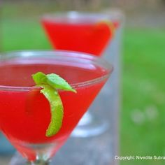 Ginger, pomegranate and basil gimlet.