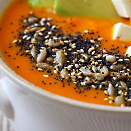 09bdb414 8683 4e39 a7d7 75e9656a2f53  roasted carrot soup with avocado feta and seeds
