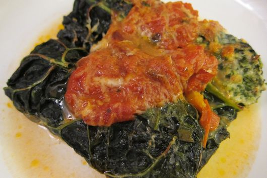 Hearty Stuffed Cavolo Nero, with Curly Kale, Turkey, and Ricotta