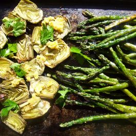 Roasted asparagus and baby artichokes