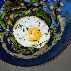 Charred Shishito Peppers with Fried Eggs