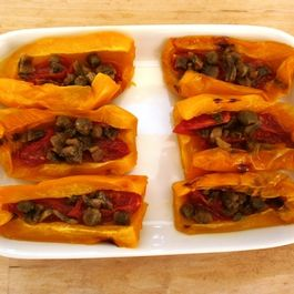 Roasted Yellow Bell Peppersa with Anchovies, Capers and Tomato