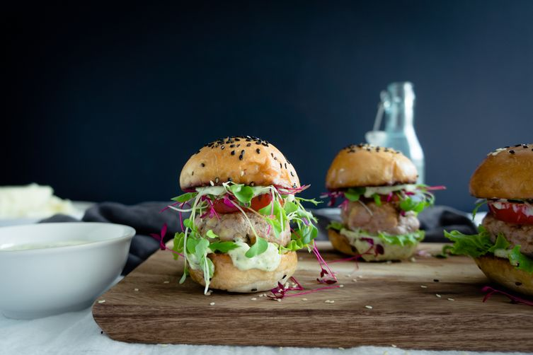 Turkey sliders with recao pesto mayo