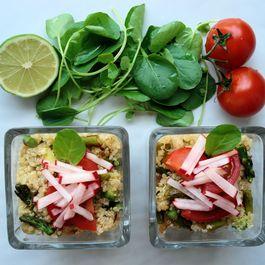 Asparagus, Avocado, and Caramelized Onion Quinoa