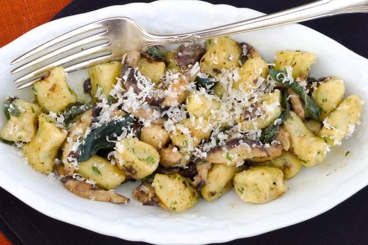 Handmade Ricotta Gnocchi with Shiitake Mushrooms in Brown Butter Sage Sauce