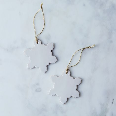 Handmade Ceramic Snowflake Ornaments (Set of 2)