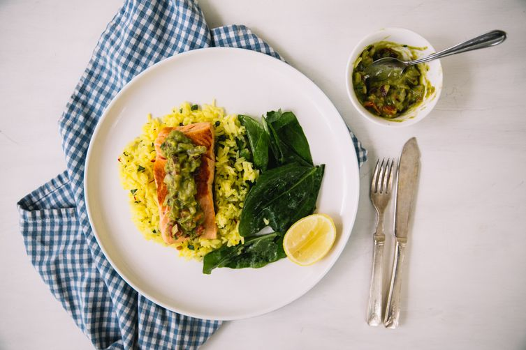 Salmon with Saffron Rice & Guacamole