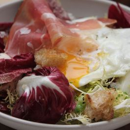 From the Good Food Awards: Olive Oil Poached Eggs with Italian Chicories and Speck