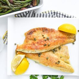 Sea Bass with Lemon Butter Caper Sauce  8 8