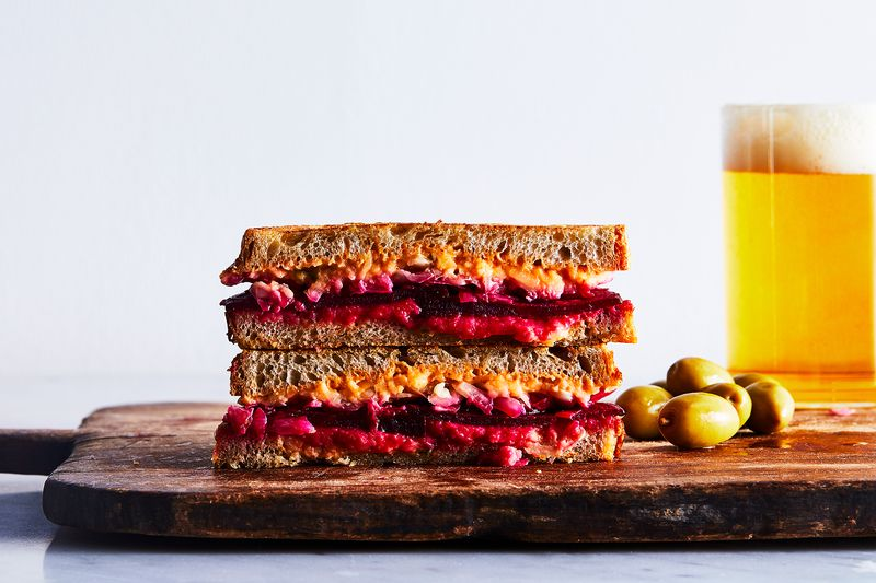 Check out the melt on this vegetarian beet Reuben.