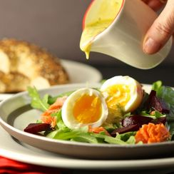Warm Salad of Soft-Cooked Eggs and Smoked Salmon