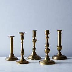 Vintage French Brass Candlesticks (Set of 2)