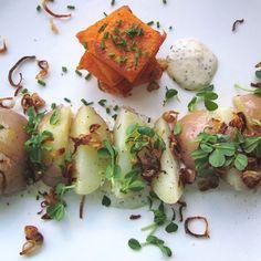 "Potato ""Salad"" with Crispy Shallots, Pea Shoots & Whole Grain Mustard Aioli"