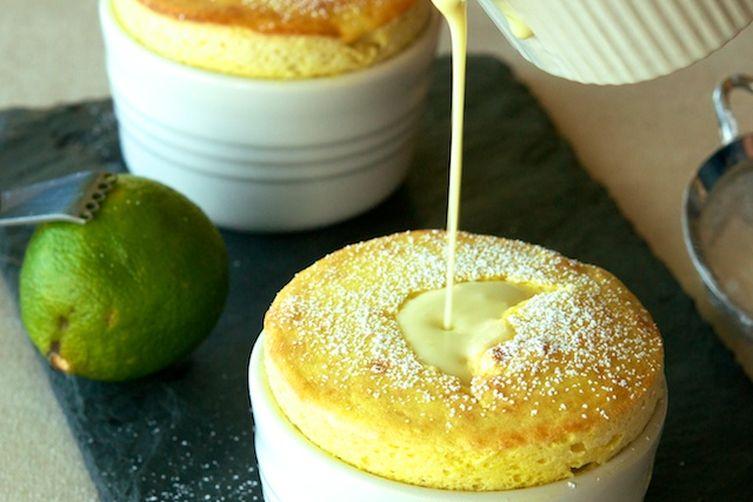 Mango Soufflés with Coconut-Lime Crème Anglaise