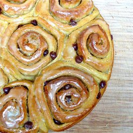 Pumpkin Orange Cinnamon Rolls with Chocolate Chips