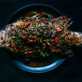 Braised Barramundi in Broad Bean Chile Sauce with Pickled Chiles and Ginger