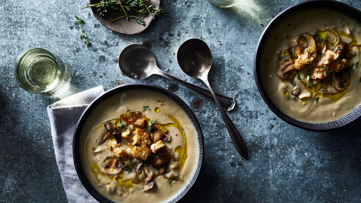 Luxurious Cream Of Mushroom Soup With Garlic Herb Croutons Recipe On Food52