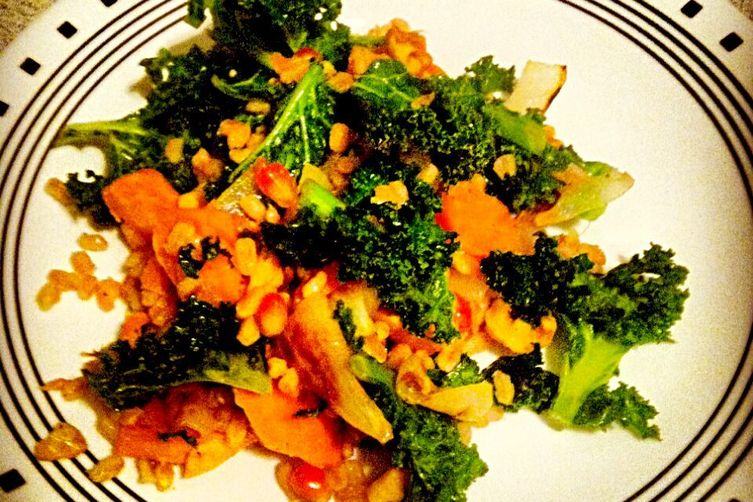 Kale, Farro, and Sweet Potato salad with Pomegranate Dressing