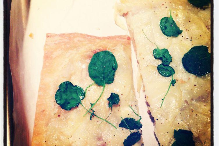 Mosaic potato tart with watercress