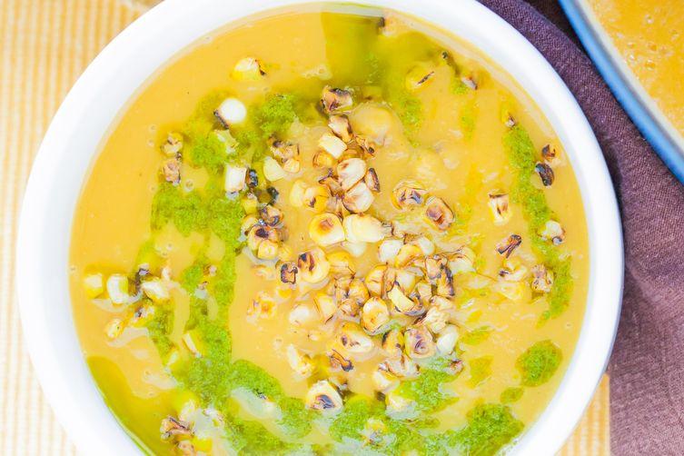 Delicata Squash Soup with Charred Corn and Cilantro Oil