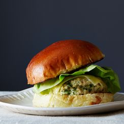 Herbed Chicken Burgers with Spicy Aioli