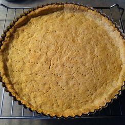 home-made ricotta and peach tart
