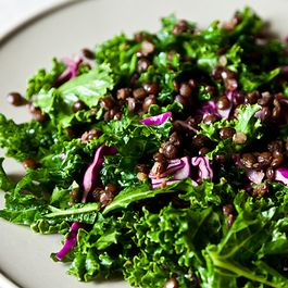Raw Kale Salad with Lentils and Sweet Apricot Vinaigrette