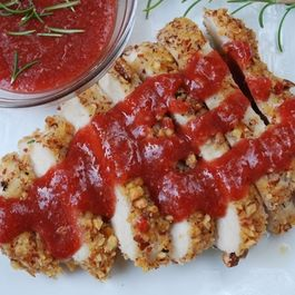 Almond Crusted Chicken with a Strawberry Balsamic Sauce