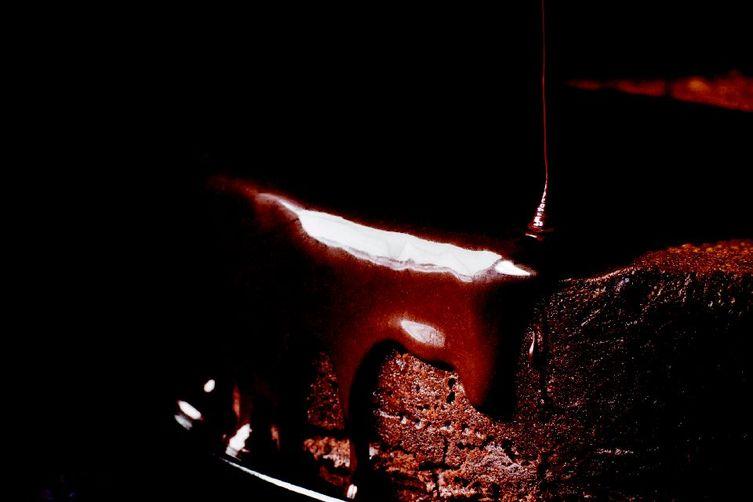 Darkest Chocolate Cake with Red Wine Glaze