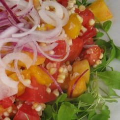 Cherry Tomato, Peach, Corn and Arugula Salad with Sweet Red Onion