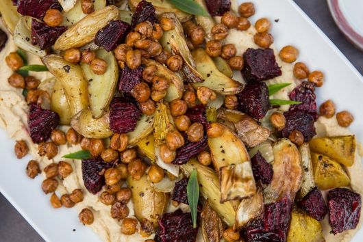 Roasted Root Veggies with Crispy Chickpeas and Hummus
