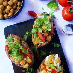 Chickpea Stuffed Sweet Potatoes