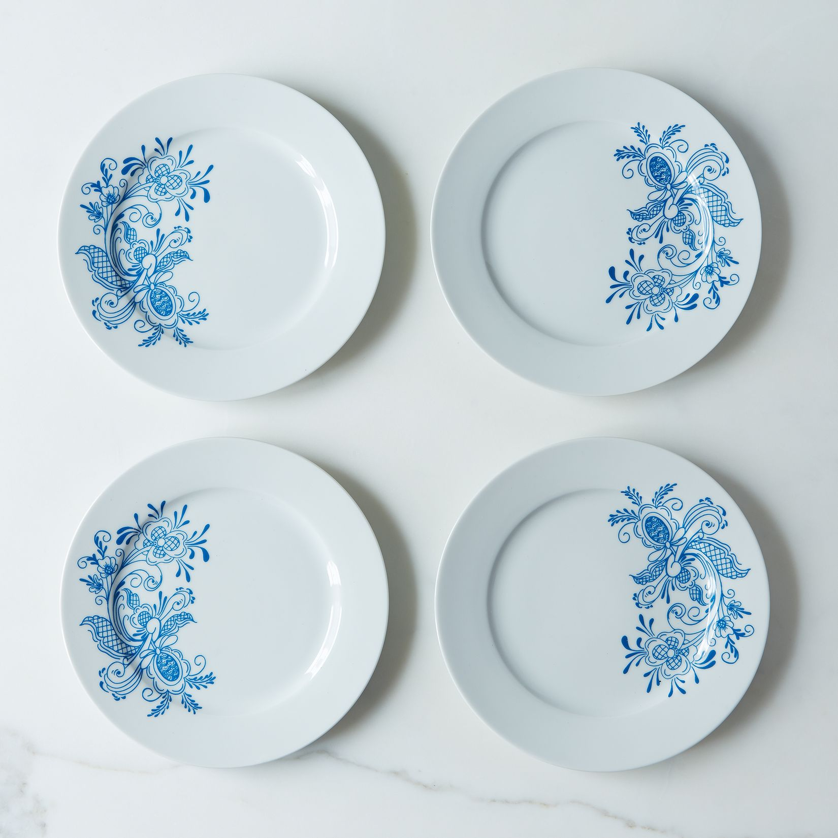 swedish blue rosemaling dessert plates (set of ) on food -