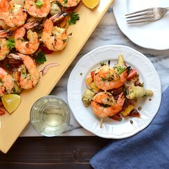 italian-style grilled shrimp and polenta
