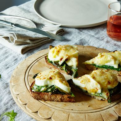 Eggs Gratin Crostini with Swiss Chard