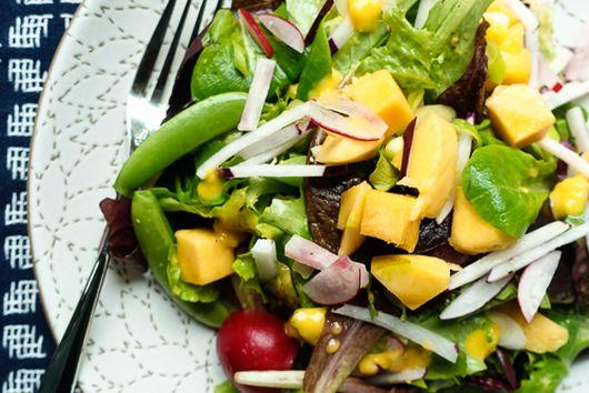 Spring Market Salad: Sugar Snaps, Radish & Mango-Ginger Vinaigrette
