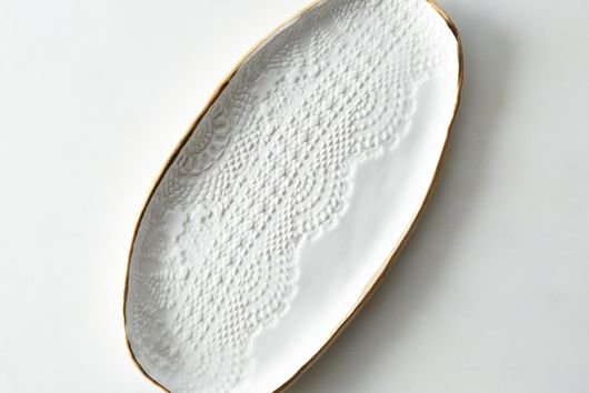 Gold Rimmed Lace Tray