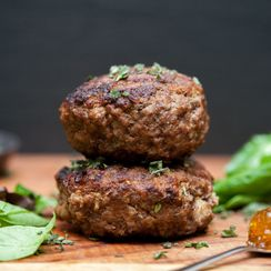 Goat Cheese and Fig Jam Knife-and-Fork Burger
