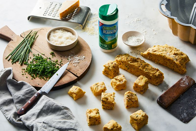 Mix-ins like chives, grated cheese, and Hidden Valley Ranch work well in a savory take on monkey bread.