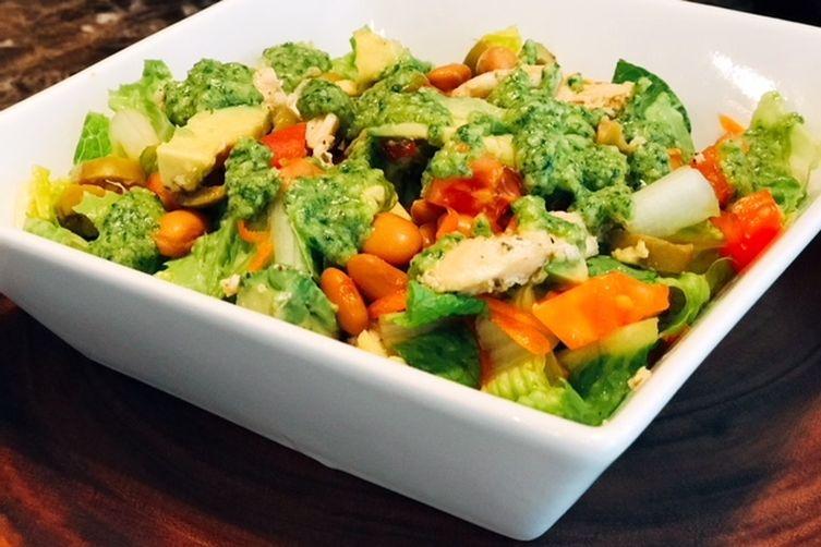 Chicken, Bean, Avocado Salad With Creamy Cilantro Dressing