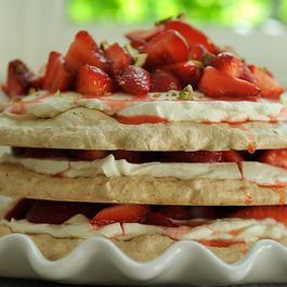 Pistachio Meringue Stack with Rose Cream and Strawberries