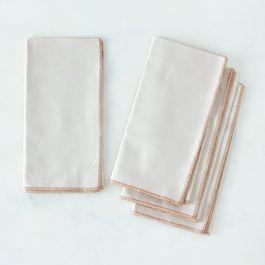 Copper-Trimmed Cream Linen Napkins (Set of 4)
