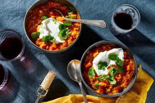 Coconut & Red Curry Lentil Stew With Sweet Potatoes