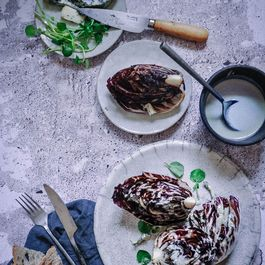 Grilled radicchio with blue cheese sauce